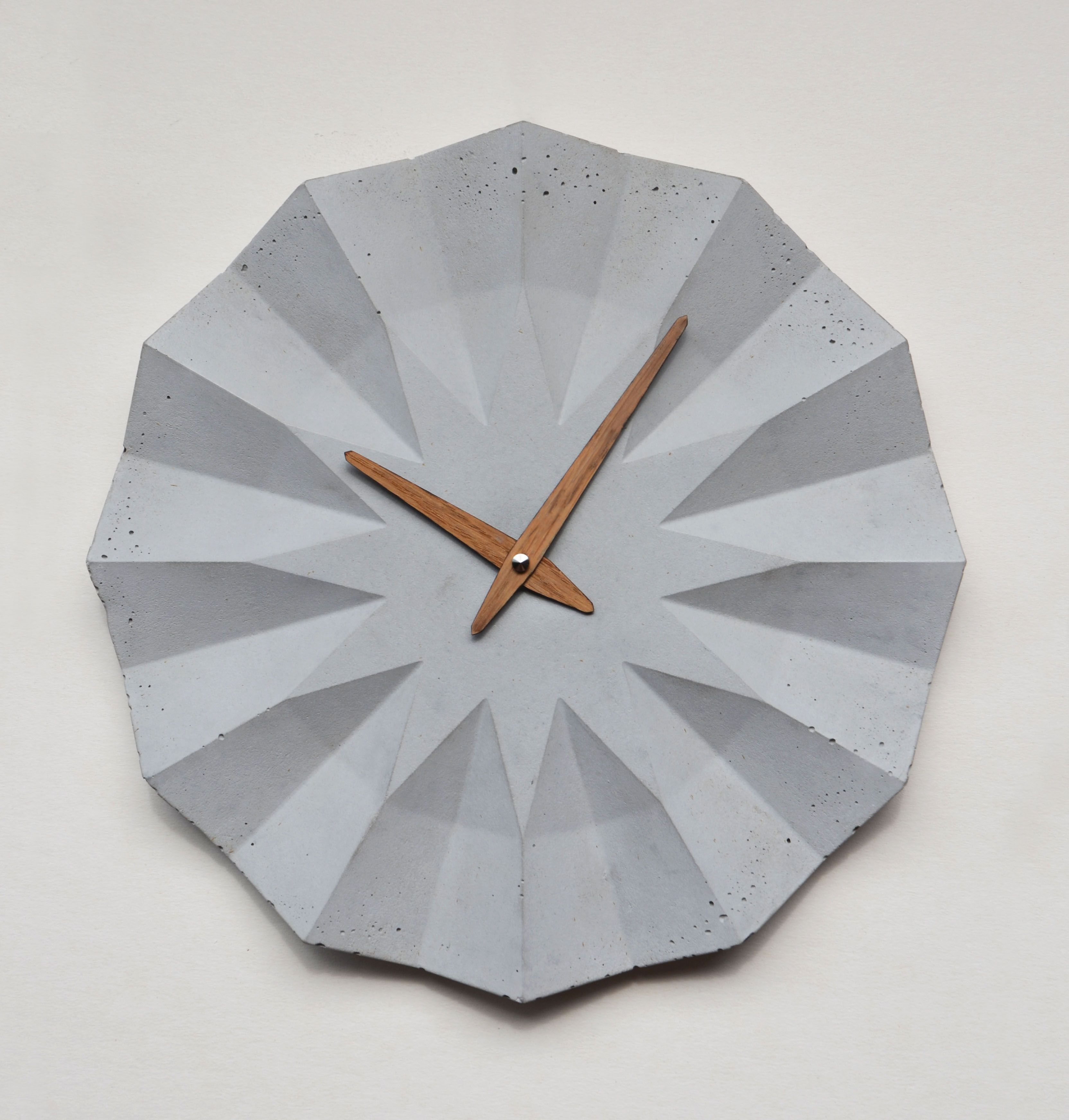 Concrete Clock With Oak Clockhand By Moha Design Cement Design Wall Clock Concrete Wall