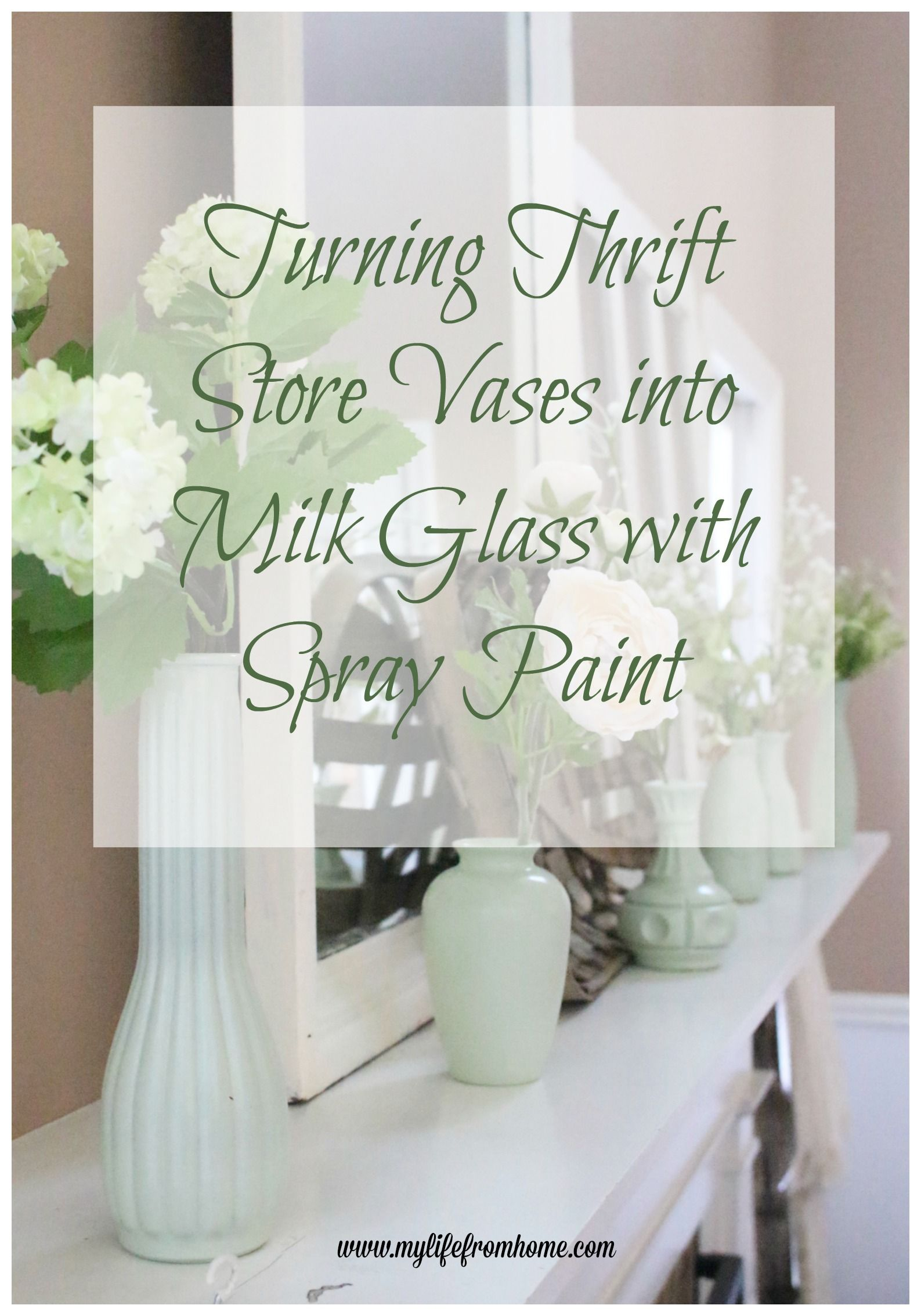 Thrift Store Vases- milk paint spray paint- jadeite- crafts- craft ...