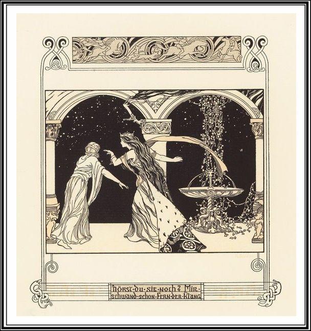 "Hugo Braune (1875 - ?), Illustrations pour ""Tristan & Isolde"" de Richard Wagner."