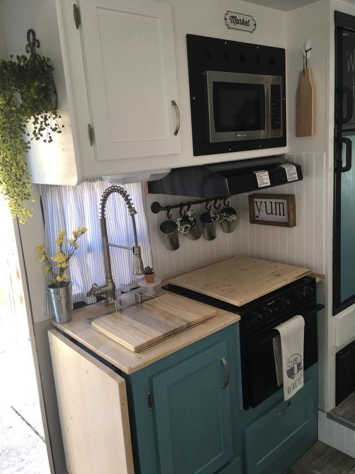 Pin By Cathy Baggett On Camping Travel Rv Kitchen Remodel Kitchen Remodel Design Remodeled Campers