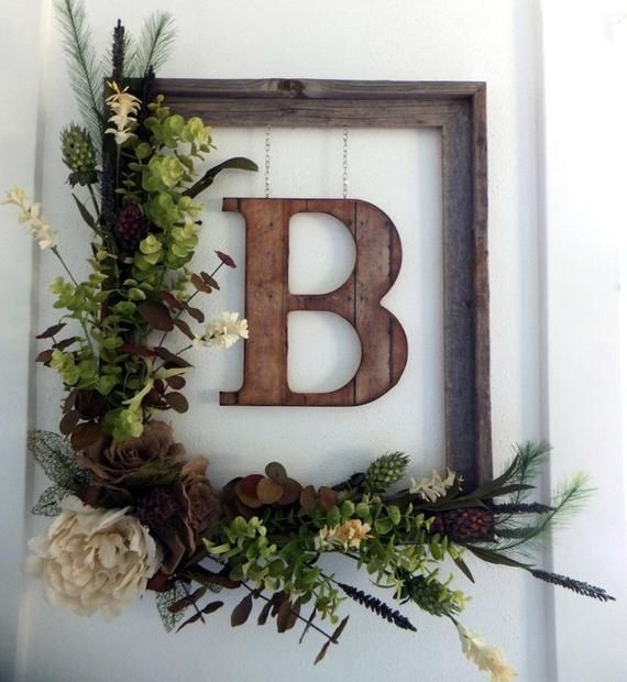 Front Door Wreath with Initial, Monogram Wreath, Rustic Décor, Farmhouse Décor, Rustic Home Décor, Burlap Wreath, Fall Wreath, Neutral
