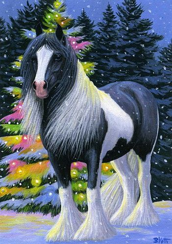 Christmas Horse Drawing.Gypsy Christmas The Colourful Tree Is Glowing