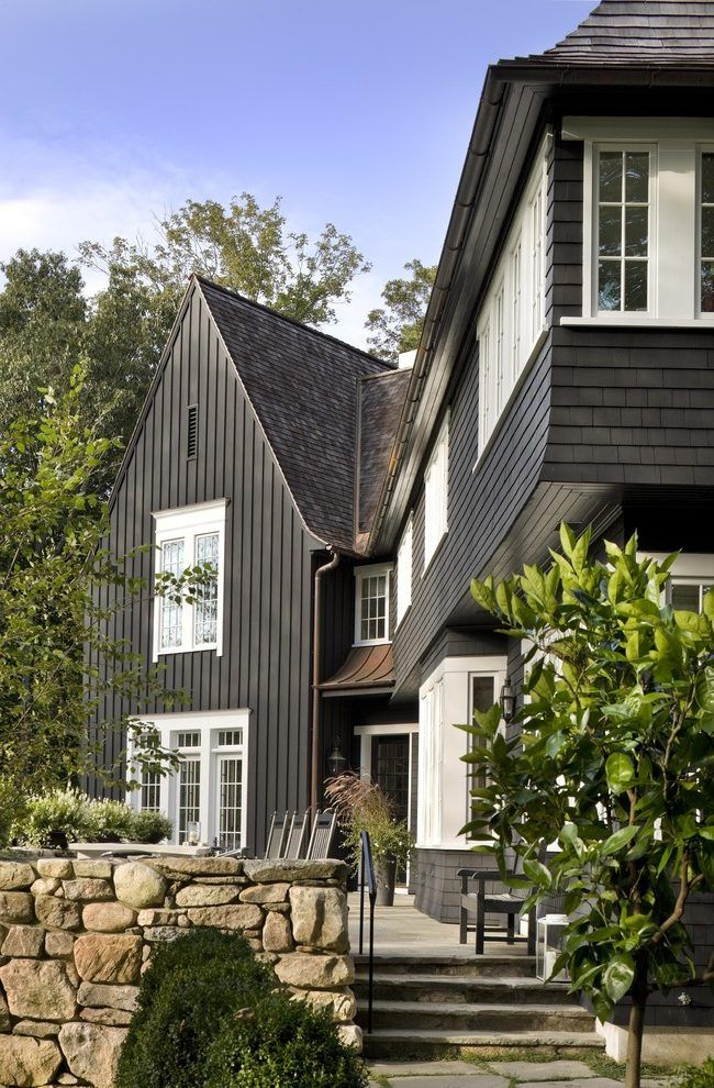 Dark Green Siding Exterior Traditional With Modern