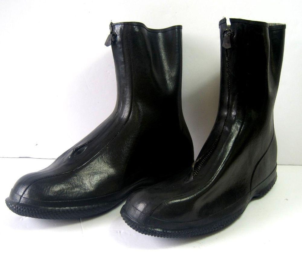 Men's Rubber Pull Over Shoes Rain Snow Boots Black Size 10 Front ...