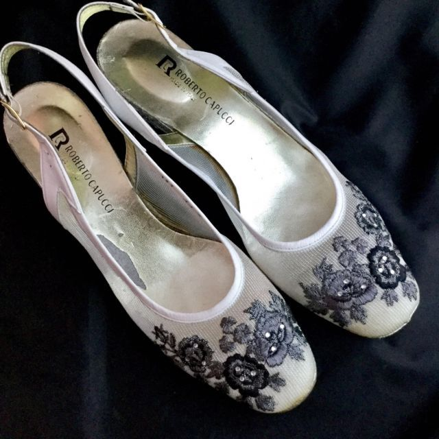 5d17586b9150a Roberto Capucci Vintage Floral Sheer Mesh Rhinestone Silver Wedges ...