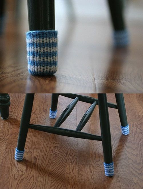 Such A Good Idea You Can Protect The Chairs And The Wood Floor And Make Moving The Chairs Easier Chair Socks Striped Chair Chair Covers