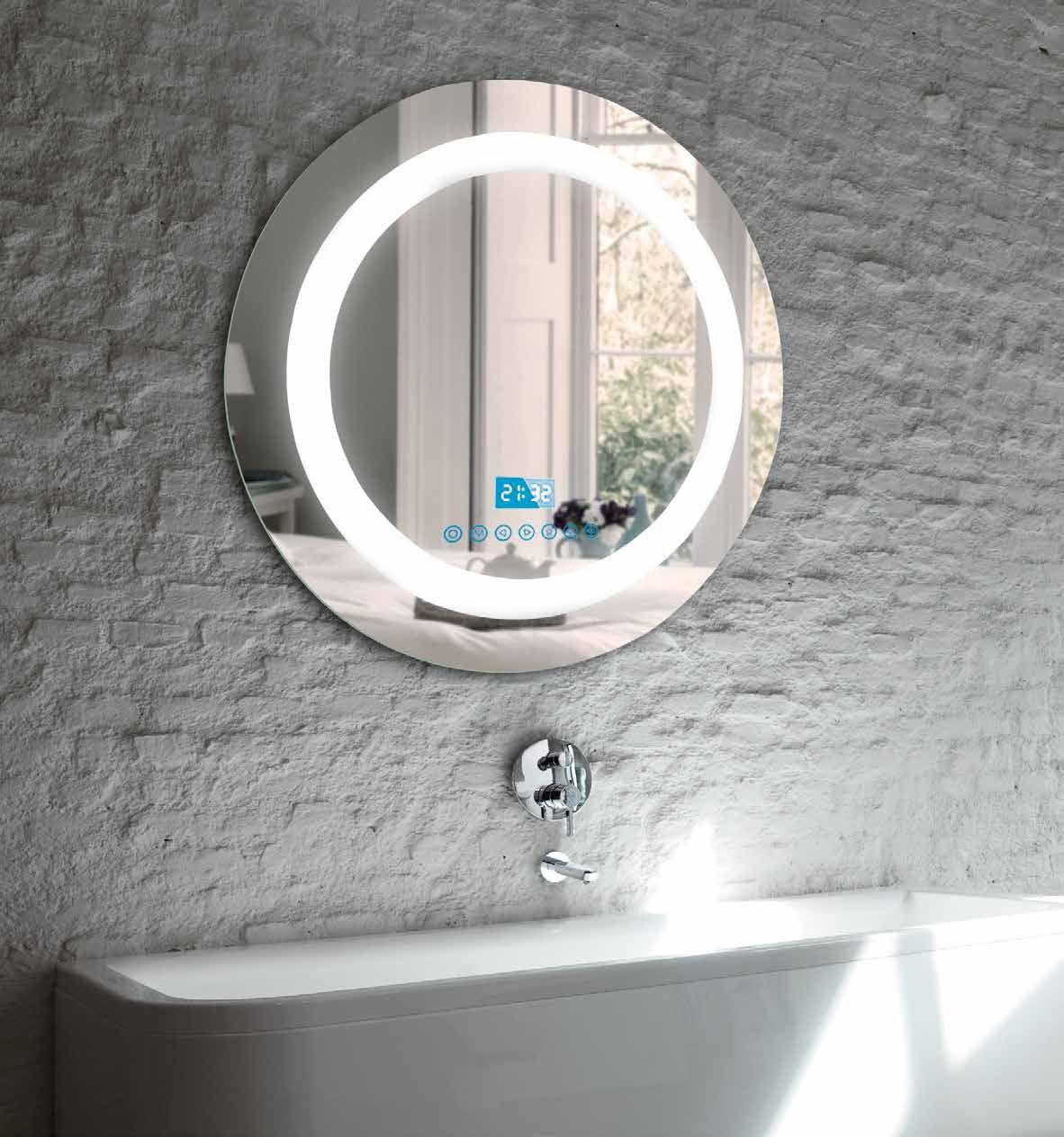 Espejo multimedia redondo espejo redondo con tecnolog a for Espejos con iluminacion