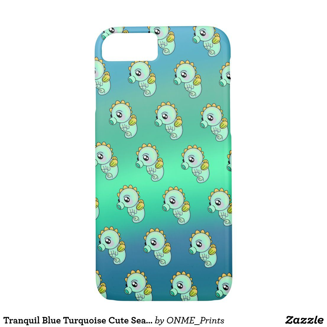 Tranquil Blue Turquoise Cute Seahorse iPhone 8/7 Case