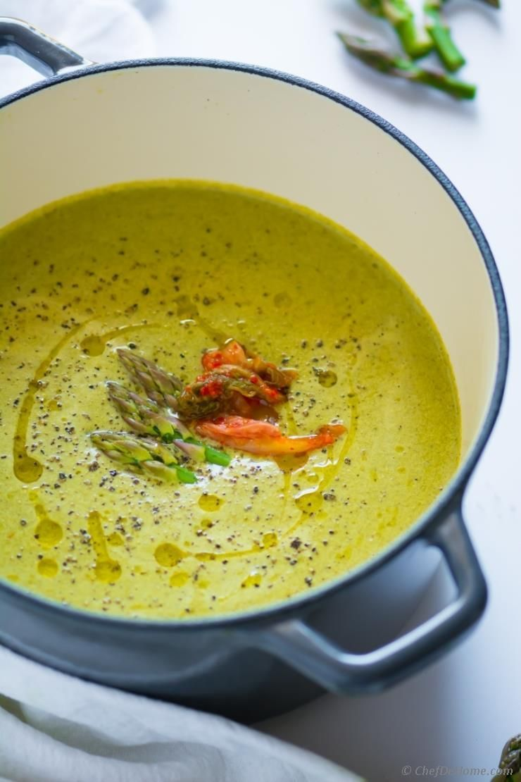 Creamy Asparagus Soup With A Subtle Spicy Kick Prepared With