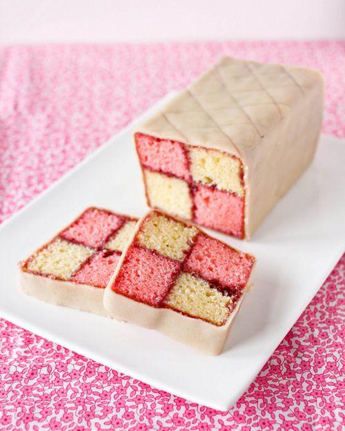 Battenberg cake - sponge cake tinted yellow and pink ...