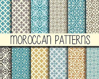 Dise o de azulejos marroqu es scrapbook set de 12 - Telas marroquies ...