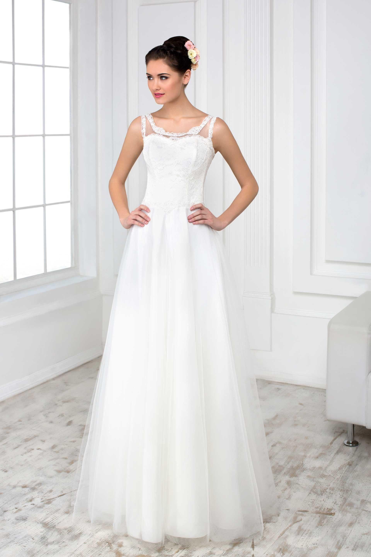 22a393359 Jednoduché svadobné šaty s jemnou sukňou a čipkovaným vrškom s ramienkami