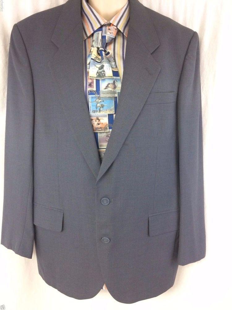 Zylos George Machado Sport Coat Size 42R Blue 100% Wool 2 Button Lined Blazer #Zylos #TwoButton