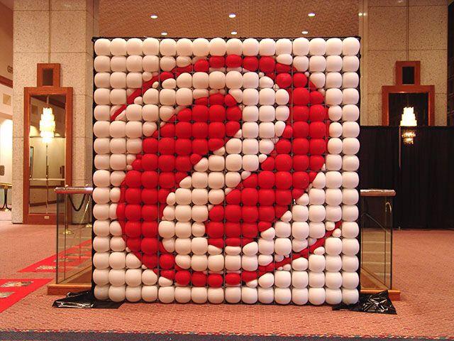 Corporate logo balloon wall walls facades pinterest for Balloon decoration on wall