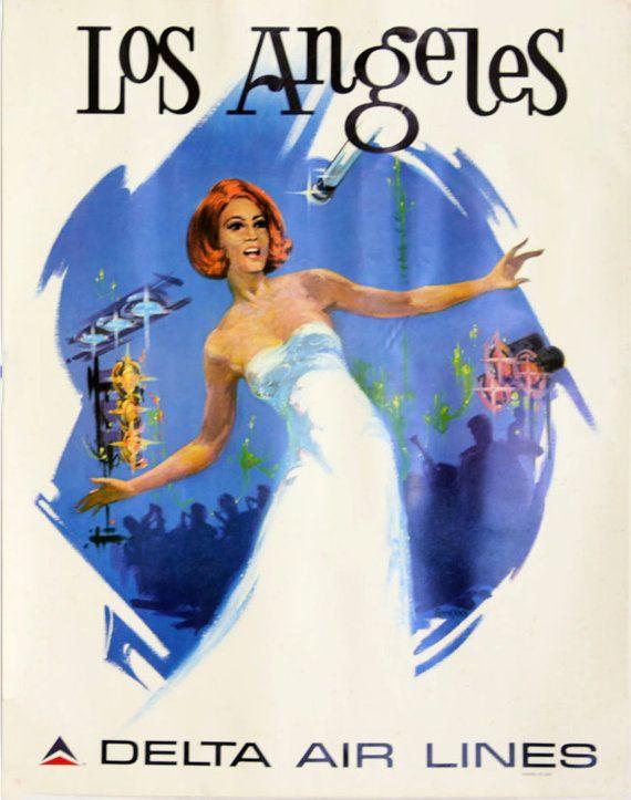 Visit Los Angeles Delta Airlines Vintage by OldTimeGraphics, $9.99