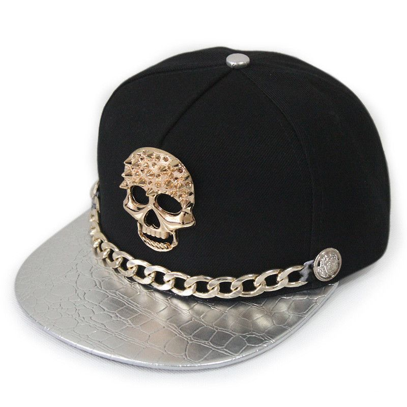 bc84a697766 West Unisex Punk Leather Snapback Hat With Gold Chain Rivet Buttons Skull  Hip-Hop Baseball