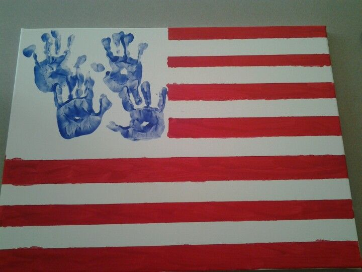 Flag On Canvas Used Painters Tape To Keep The White Lines While Kids Painted Red Then Added The Blue Kid Hand Prints Fourth Of July Memorial Day 4th Of July