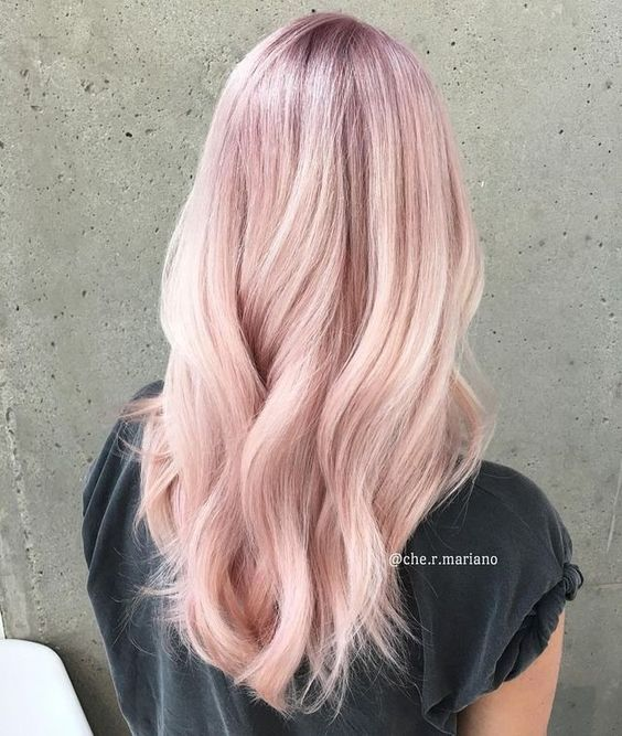 Pink Hair Color Pastel Light Ombre Curly Wavy Blush