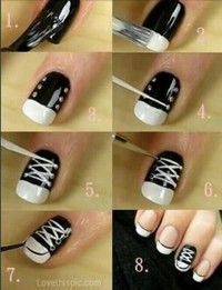 converse shoes nails: I love making converse shoe designs on my nails ! They're easy to do !
