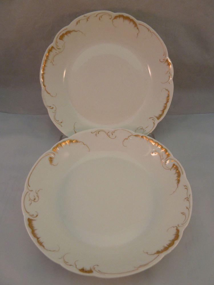 Haviland Limoges Set of 2 Bowls White with Gold Scroll Trim Made in France Bowl & Haviland Limoges Set of 2 Bowls White with Gold Scroll Trim Made in ...