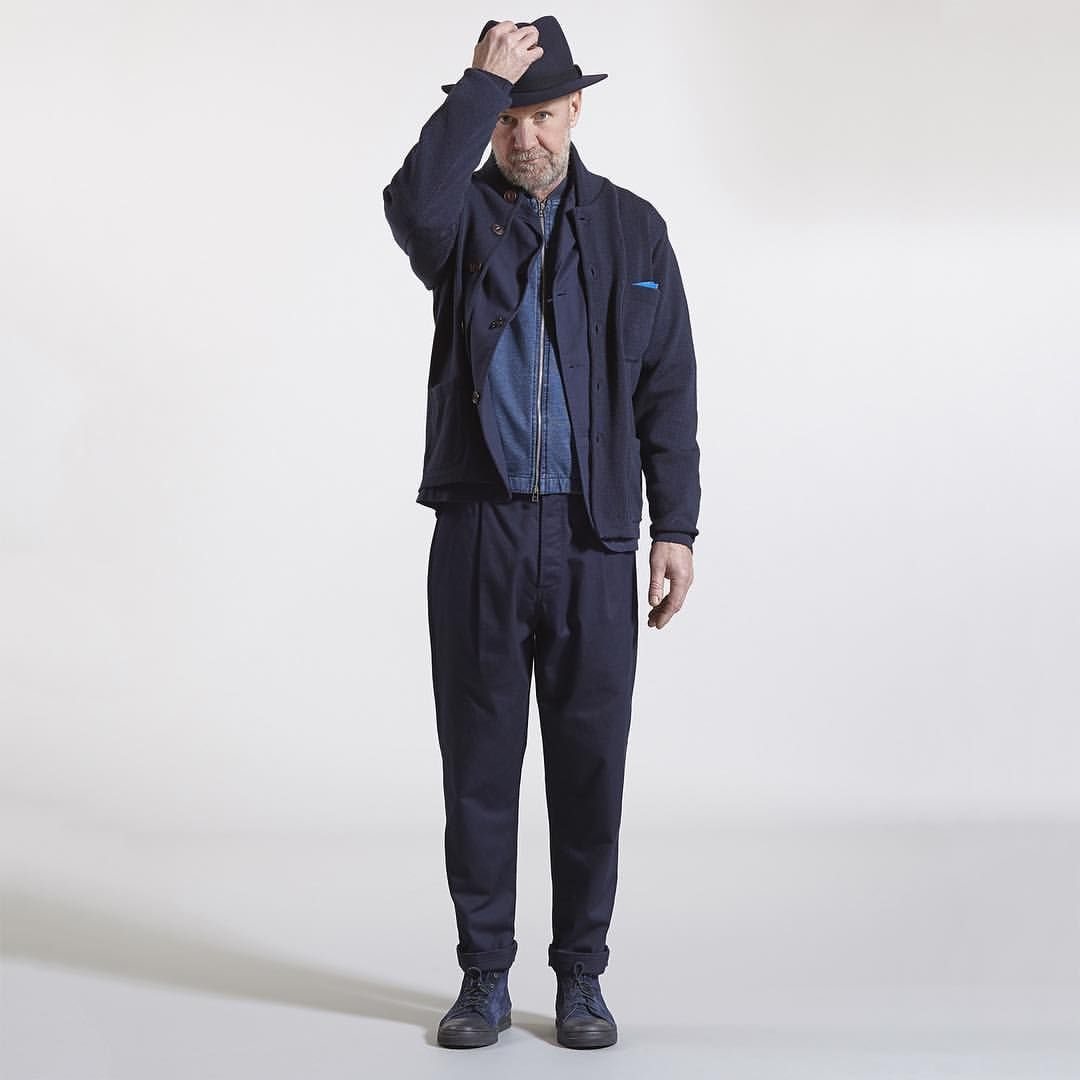 Knit work jacket in merino, london jacket in twill, zip jacket, pleat pant in twill, navy toe cap bumper, doncaster hat, pocket square #universalworks #nottingham #london #knit #knitwear #navy #indigo #fedora #pocketsquare #pleatedpant #aw15