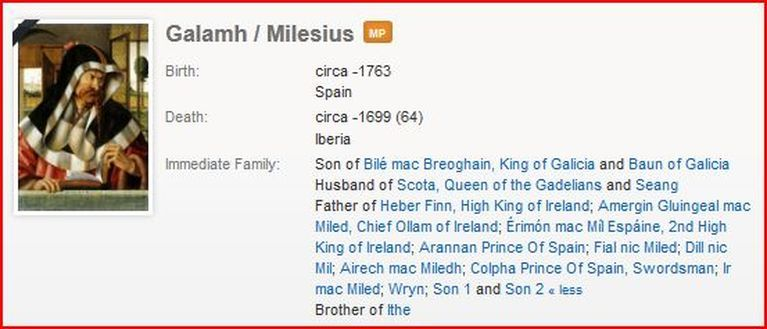 Milesius galamh king of ireland