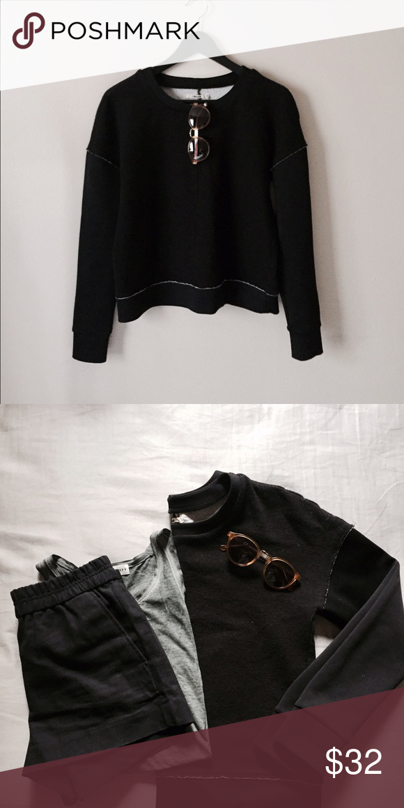 Jbrand Crew Neck Sweater Black crew neck sweater, very thick and cozy. Has edgy neoprene sleeves and hem. jbrand Sweaters Crew & Scoop Necks