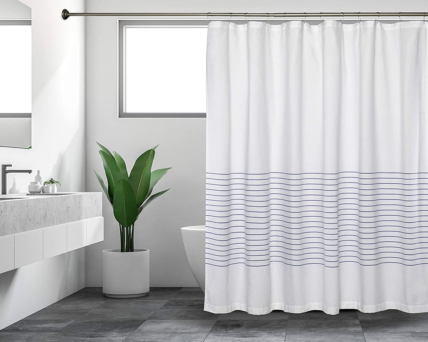 Photo of Sticky Toffee Woven Cotton Fabric Shower Curtain, 72 x 72, White with Thin Stripes – Blue Thin Stripes