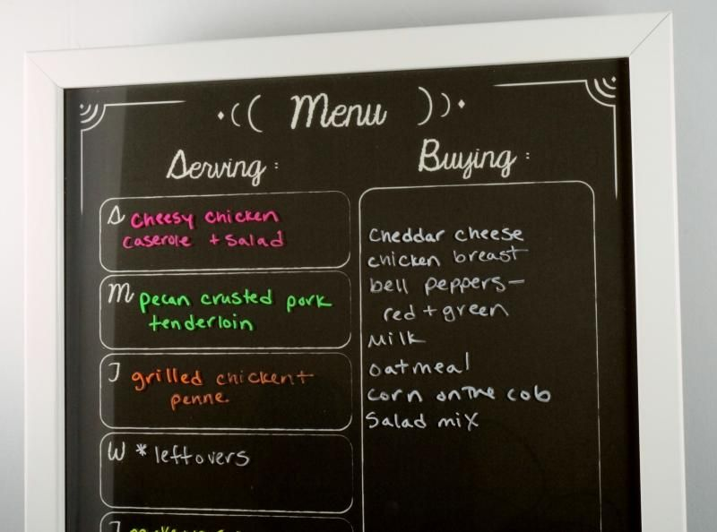 our black chalkboard menu planner with neon liquid chalk markers