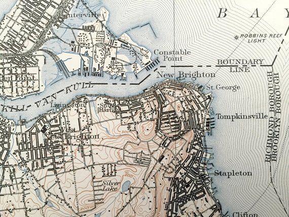 Antique Staten Island New York City 1901 Us Geological Survey