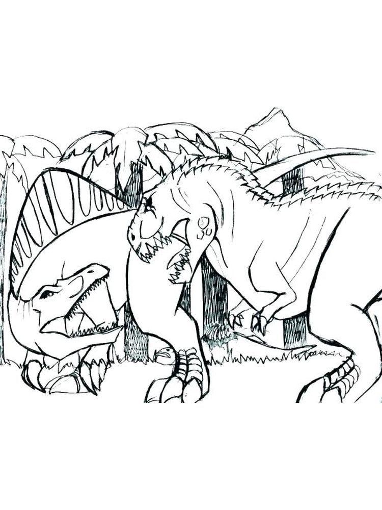T Rex Colouring Pages Free Dengan Gambar