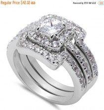 Wedding Engagement Anniversary Ring Trio Set Solid 925 Sterling Silver 0.40 Carat Princess Cut Square Round Diamond CZ Halo Three piece Ring