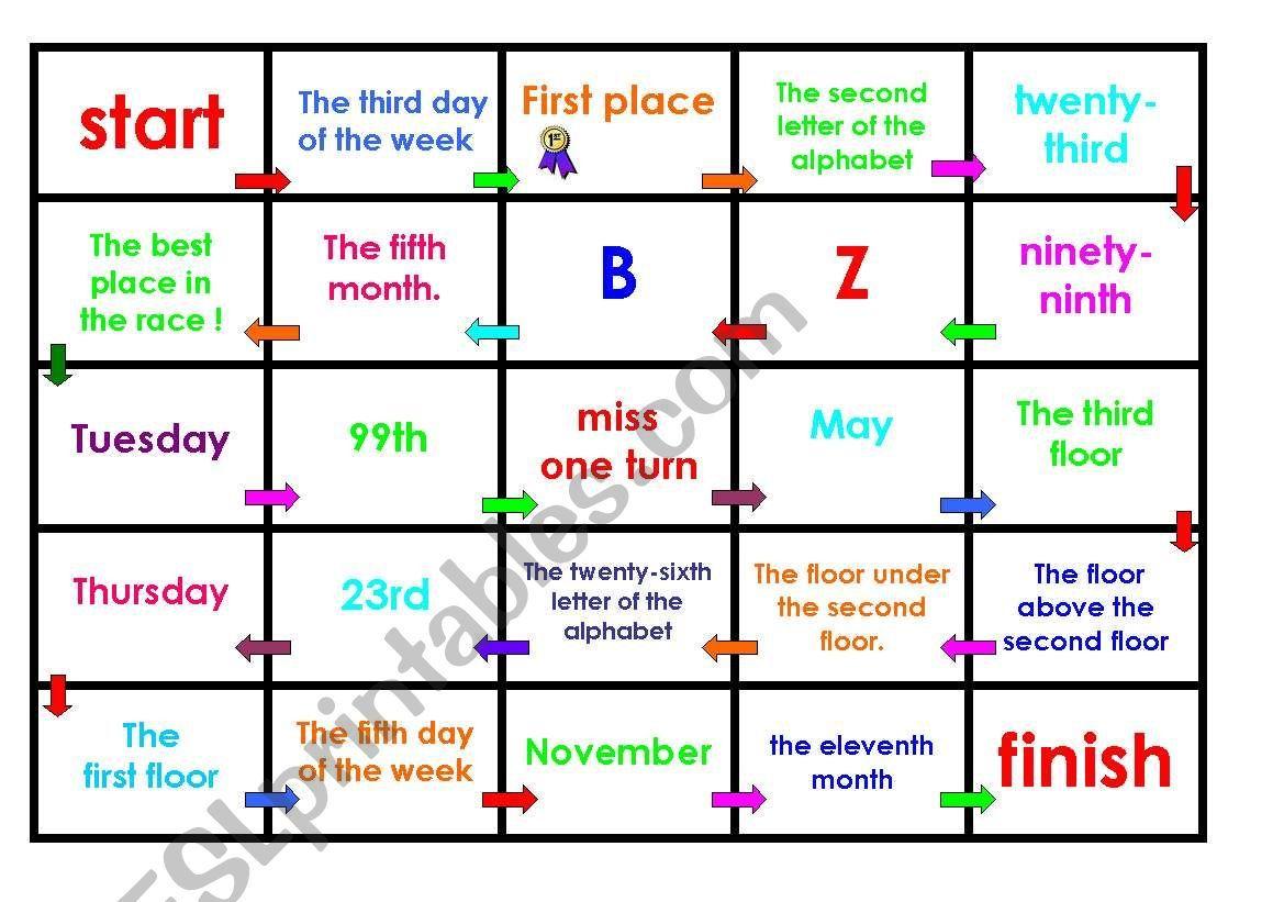 Ordinal Numbers Board Game