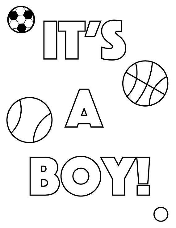 Gender Reveal Coloring Pages (4 Different Designs ...