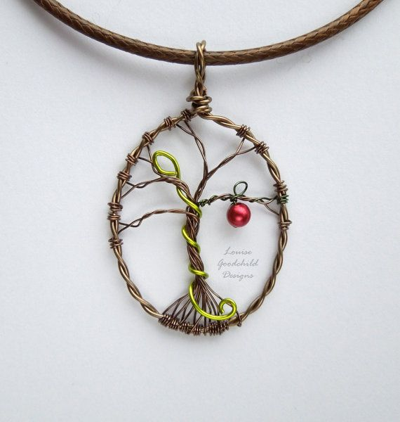 Eden wire tree pendant, garden of Eden, serpent pendant, apple ...