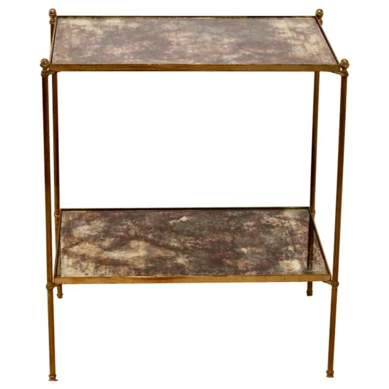 Charles Maison Side Table Two Tier Maison Charles Bronze Oxided French Hollywood Regency Brass Glass Brass Side Table Modern Side Table Glass Side Tables