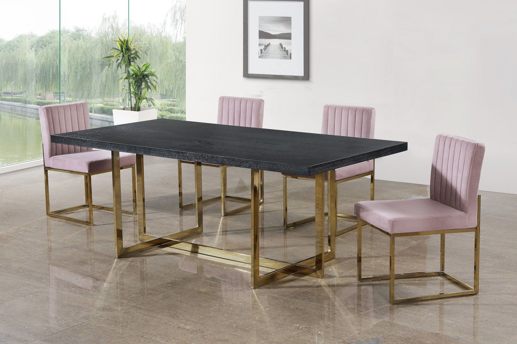 Elle Pink Dining Chair In 2020 Dining Table Gold Velvet Dining Chairs Pink Dining Chairs