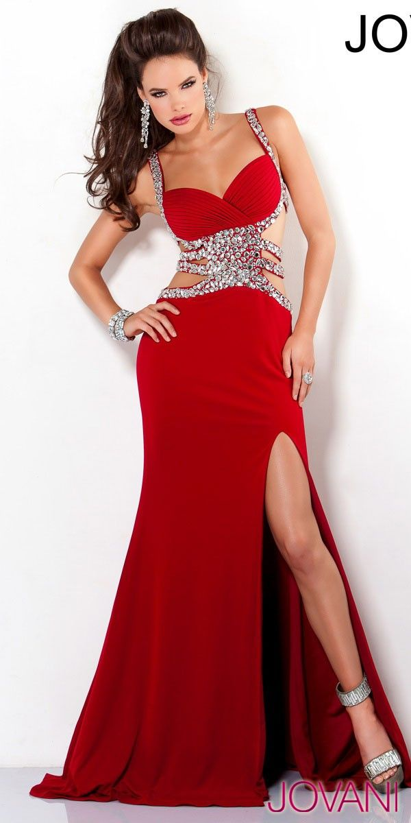 RED gown slit/cutout/stones Prom dress | Prom | Pinterest | Red ...