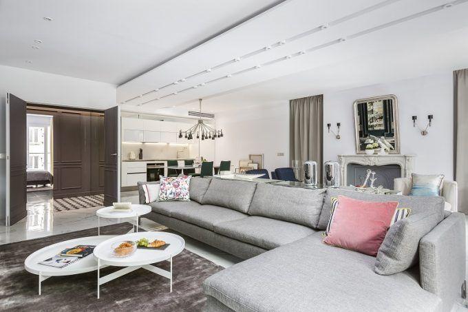 Paris Wohnung Belle Novelle in einem modernen und eklektischen Stil - wohnzimmer gestalten beige