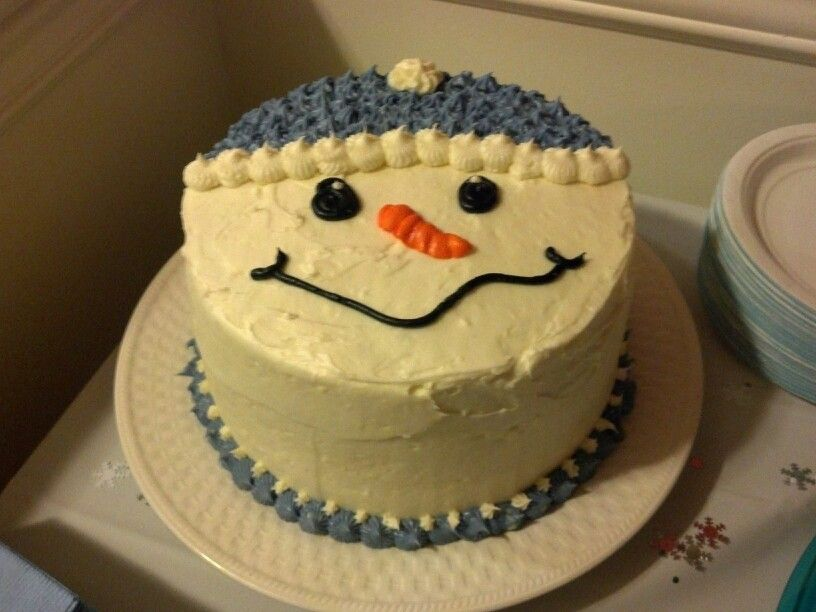 Snowman design..Karen's mom's carrot cake with cream cheese frosting