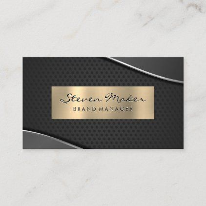 Gold Metallic And Gray Perforated Mesh Business Card Zazzle Com Trendy Business Cards Elegant Business Cards Gold Metal