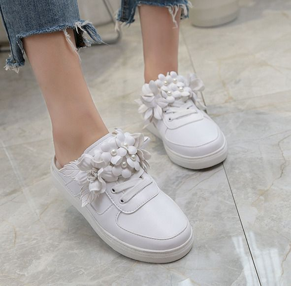 Breathable Womens Pearls Flower Platform Slingback Athletic Sneaker Shoes White