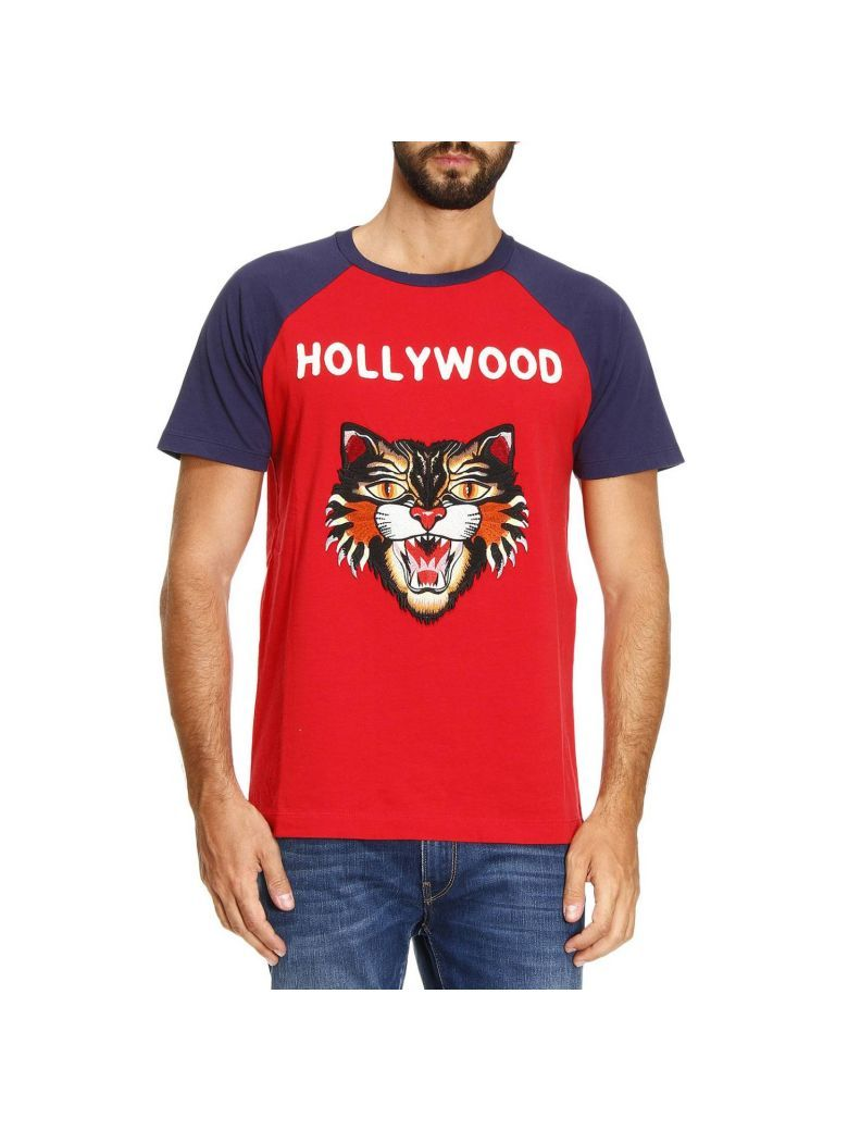 87618c9a0671 GUCCI T-shirt Pure Cotton T-shirt With Angry Cat Maxi Patch And Hollywood  Writing. #gucci #cloth #