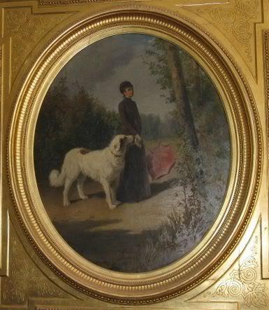 Keizerin Elisabeth met één van haar honden.