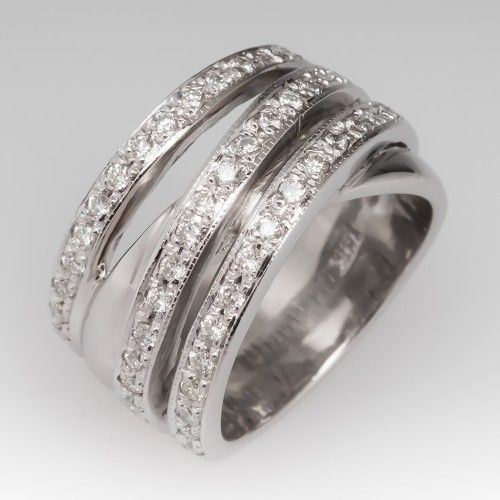 Ladies Wide Band Diamond Ring 14k White Gold Wide Band