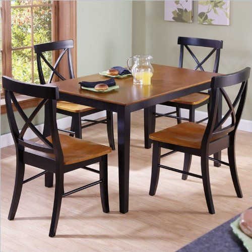 International Concepts 30 By 48 Inch Dining Table With X Back Chairs Set Of 5 Dining Table Chairs Dining Room Sets Wood Dining Room Set