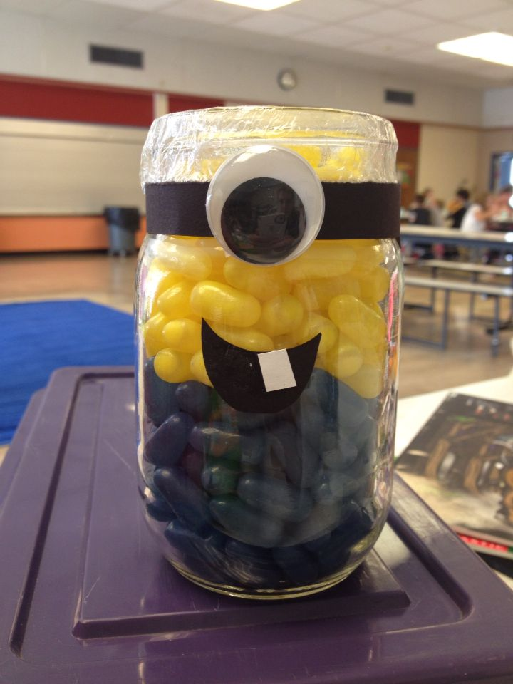 Guessing Jar Idea Minion Mike And Ike S Put In Mason Jar Guess The Number If Candies Jar Games Guessing Jar Candy Jars Diy