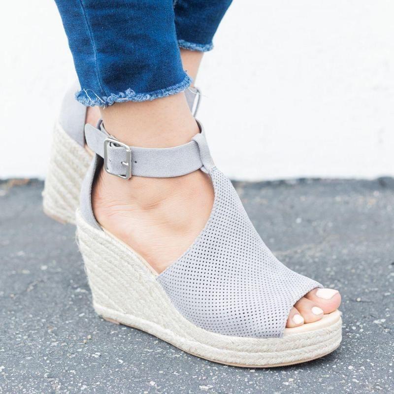 fa6063086 Women Chic Espadrille Wedges Adjustable Buckle Sandals | Dresses ...