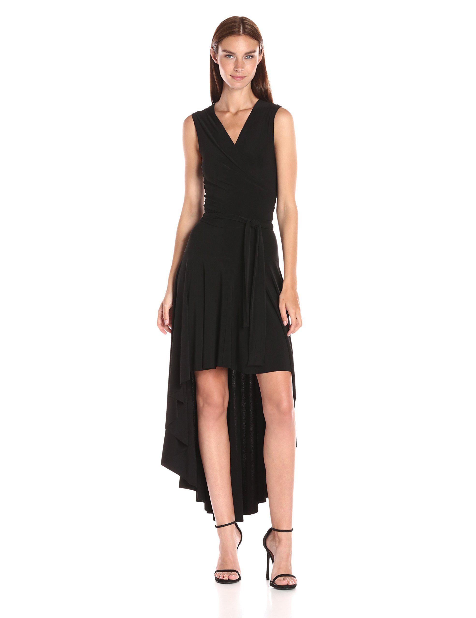 Norma kamali womenus sleeveless wrap dress flared womenus fashion