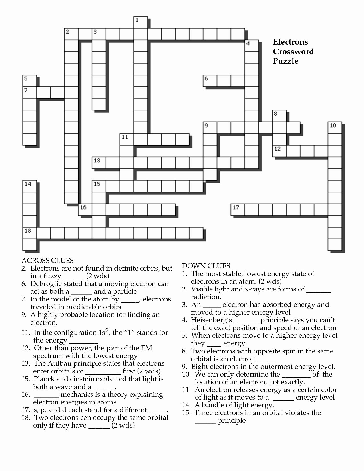 Worksheet Elements Compounds And Mixtures Crossword Puzzle